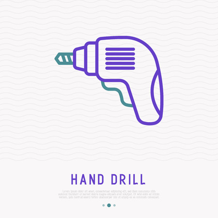 Hand drill thin line icon. Modern vector illustration for logo of repair service.