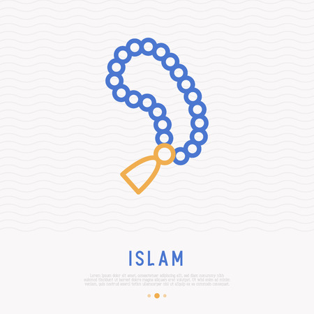 Rosary beads thin line icon. Modern vector illustration. 矢量图像