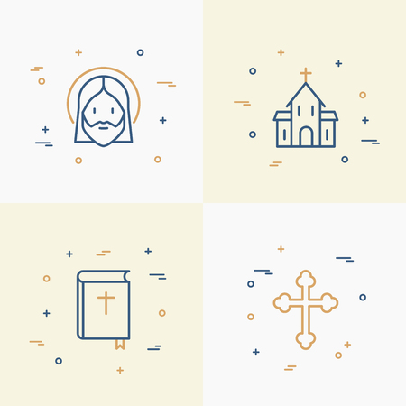 Christianity thin line icons set of church, cross, Jesus, bible. Modern vector illustration. Иллюстрация