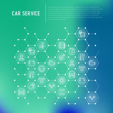 Car service concept in honeycombs with thin line icons of mechanic, computer diagnostics, tools, wheel, battery, transmission, jack. Modern vector illustration for web page.