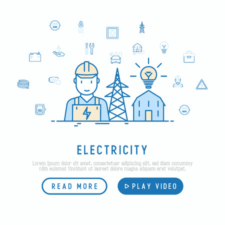 Electricity concept with thin line icons