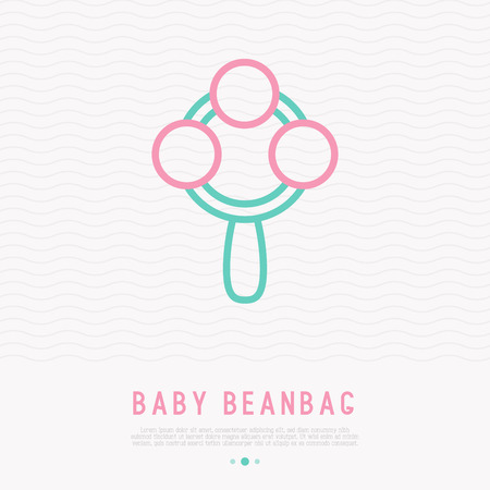 Baby beanbag thin line icon. Modern vector illustration of toy.