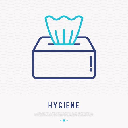 Paper napkins in box thin line icon. Modern vector illustration.