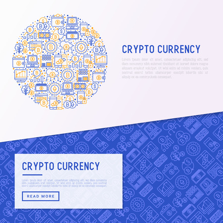 Cryptocurrency concept in circle with thin line icons set.