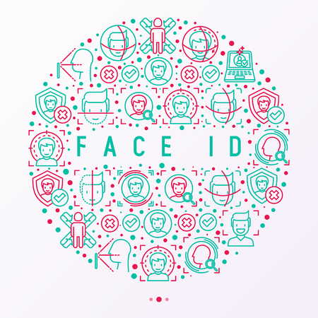 Face ID concept in circle with thin line icons: face recognition, scanning, mobile authentication, approved, disapproved, face detect. Modern vector illustration, template for web page. Illustration