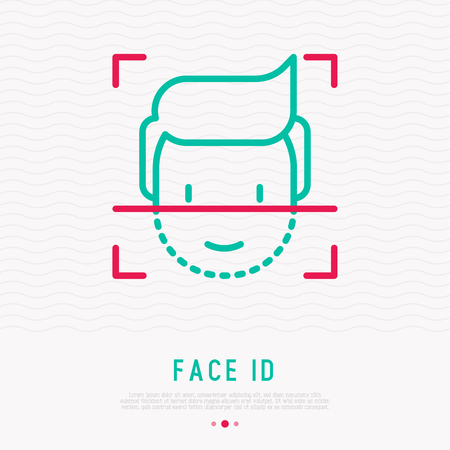 Face ID thin line icon. Face recognition and scanning. Modern vector illustration.