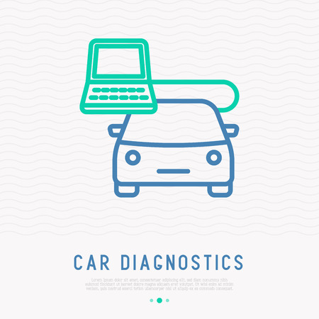 Car diagnostics thin line icon. Modern vector illustration for icon of car service. Illustration