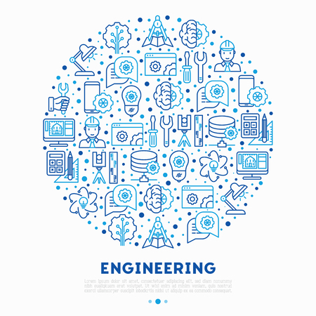 Engineering concept in circle with thin line icons Illustration