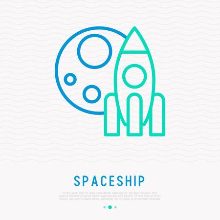 Spaceship and moon thin line icon. Modern vector illustration of start up symbol. Illustration