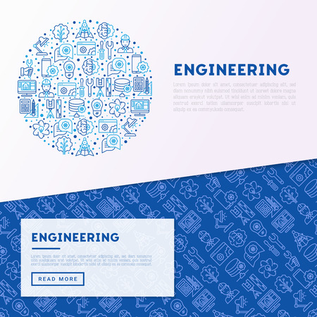 Engineering concept in circle with thin line icons: engineer, electronics, calculations, tools, repair, idea, it server. Modern vector illustration for web page, banner, print media.