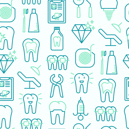 Dentist seamless pattern with thin line icons.