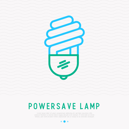 Powersave lamp thin line icon. Modern vector illustration of economical eco bulb.