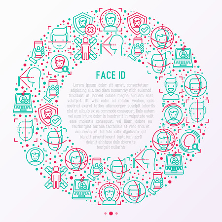 Face ID concept in circle with thin line icons Illustration
