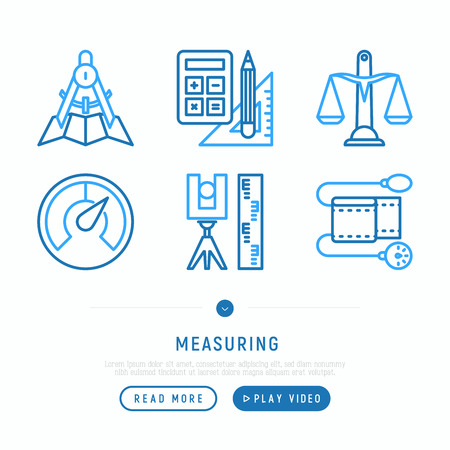 Measuring thin line icons set: weight scales, speedometer, calipers, pulse oximeter, divider. Modern vector illustration, web page template. Vectores