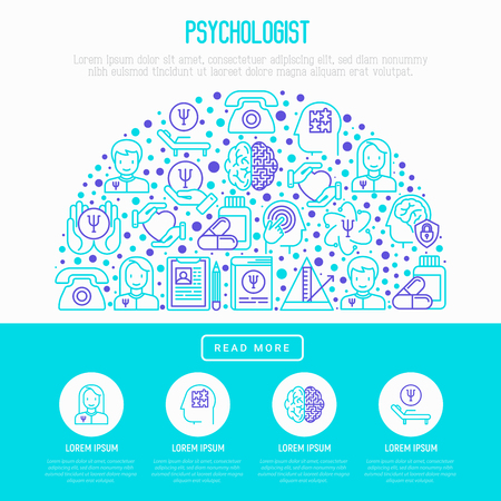 Psychologist concept in half circle with thin line icons