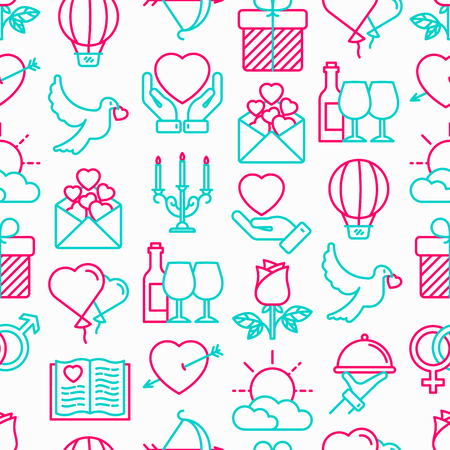 Romantic seamless pattern with thin line icons, related to dating, honeymoon, Valentines day. Modern vector illustration. Illustration