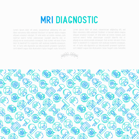 MRI diagnostics concept with thin line icons. Modern vector illustration of laboratory equipment for web page template, print media, banner. Illustration