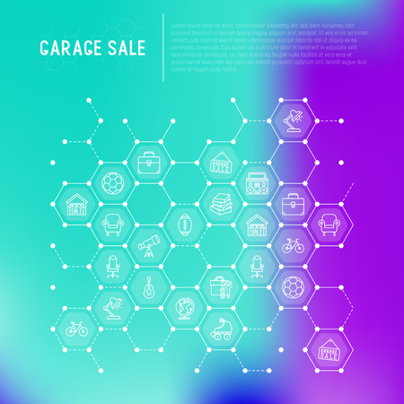 Garage sale concept in honeycombs with thin line icons: signboard, globe, telescope, guitar, rollers, armchair, toolbox, soccer ball. Modern vector illustration for banner, print media, web page.