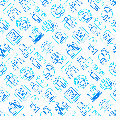 People and users seamless pattern with thin line icons: management, communication, human resources, teamwork, candidate. Modern vector illustration.
