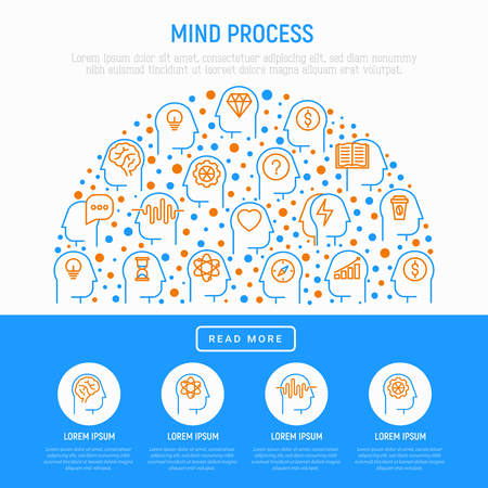 Mind process concept in half circle with thin line icons. Vector illustration and web page template