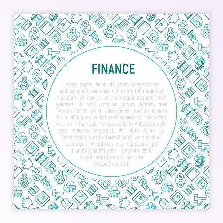 Finance concept with thin line icons: safe, credit card, piggy bank, wallet, currency exchange, hammer, agreement, handshake, atm slot. Modern vector illustration for banner, web page, print media. Ilustracja