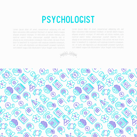 Psychologist concept with thin line icons. Vector illustration for banner, web page and print media.