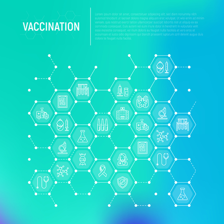 Vaccination concept in honeycombs with thin line icons. Illustration
