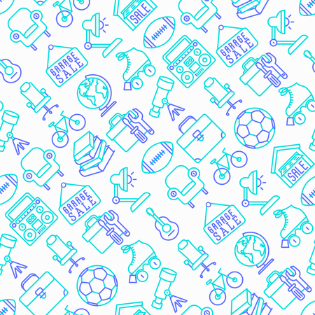 Garage sale items in a seamless pattern with thin line icons. Modern vector illustration. Illustration
