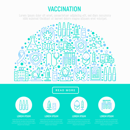 Vaccination infographic thin line icons in half circle illustration. Vectores