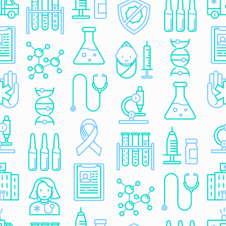 Vaccination seamless pattern with thin line icons. Vector illustration. Illustration