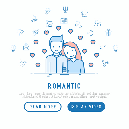 Romantic concept: couple in love with hearts around and thin line icons. Illustration