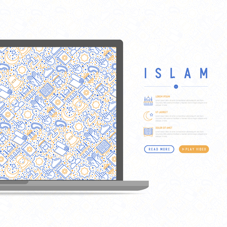Islam concept with thin line icons: mosque, carpet, rosary, prayer, koran, moslem. Modern vector illustration, template for web page. 版權商用圖片 - 100377330