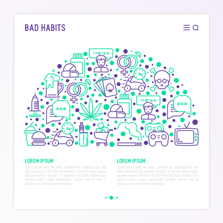 Bad habits concept in half circle with thin line icons: abuse, alcoholism, cigarette, marijuana, drugs, fast food, poker, promiscuity, tv, video games. Modern vector illustration, web page template.
