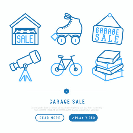 Garage sale concept. Thin line icons: garage, signboard, telescope, bicycle, books, rollers. Modern vector illustration, web page template.  イラスト・ベクター素材