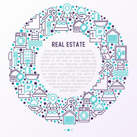 細い線のアイコンと円でレア不動産の概念:アパート、寝室、キー、エレベーター、スイミングプール、バスルーム、設備。Webページ、印刷メディアのための現代のベクトルイラスト。
