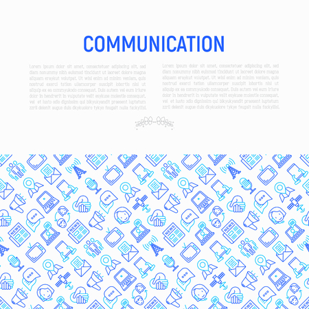 Communication concept with thin line icons: e-mail, newspaper, letter, chat, tv, support, video call, microphone. Modern vector illustration for banner, print media, web page. Illustration