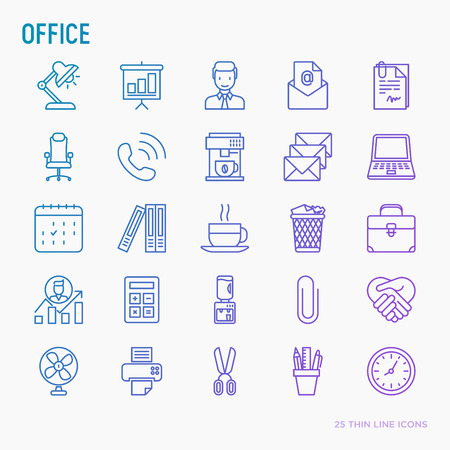 Office thin line icons set of manager, coffee machine, chair, career growth, e-mail, folders, water cooler, lamp. Vector illustration.