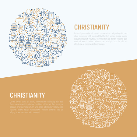 Christianity concept in circle with thin line icons of priest, church, nun, crucifixion, Jesus, bible, dove. Vector illustration for banner, web page, print media. Vectores