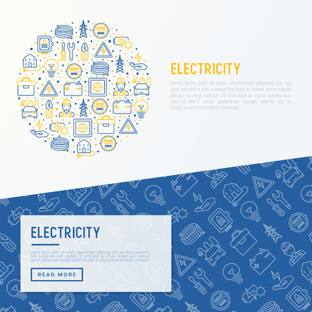Electricity concept in circle with thin line icons.