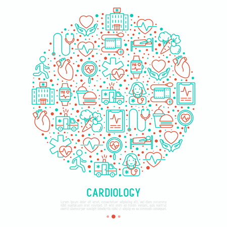 Cardiology concept in circle with thin line icons set