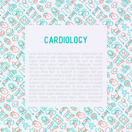 Cardiology concept with thin line icons set