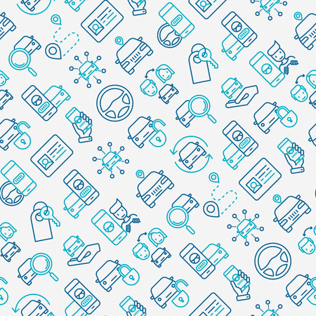 Car sharing seamless pattern with thin line icons of drivers license, key, blocked car, pointer, available, searching of car. Vector illustration for banner, web page, print media.