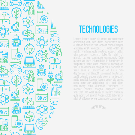 Technologies concept with thin line icons of: electric car, rocket, robotics, solar battery, machine intelligence and web development. Vector illustration for banner, web page and print media.