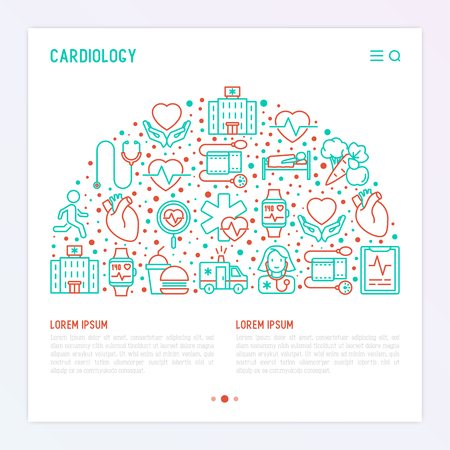 Cardiology concept in half circle with thin line icons set: cardiologist, stethoscope, hospital, pulsometer, cardiogram, heartbeat. Modern vector illustration for banner, web page, print media.