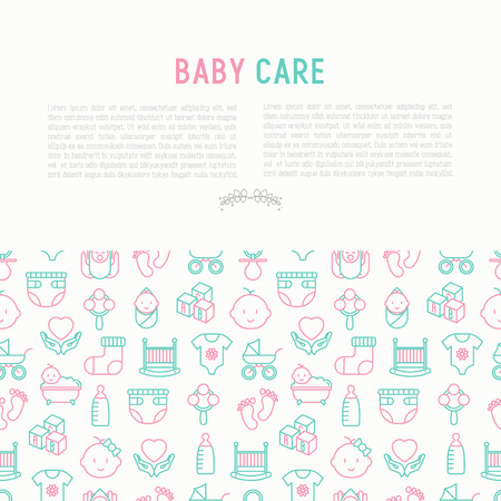 Baby care concept with thin line icons: newborn, diaper, pacifier, crib, footprints, bathtub with bubbles. Vector illustration for banner, web page, print media.