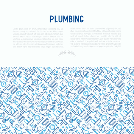 Plumbing concept with thin line icons vector illustration