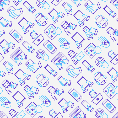 Using devices seamless pattern with thin line icons: gadget, tablet in hands, touchscreen, fingerprint, laptop, wireless headphones. Modern vector illustration for banner, web page, print media. Illustration