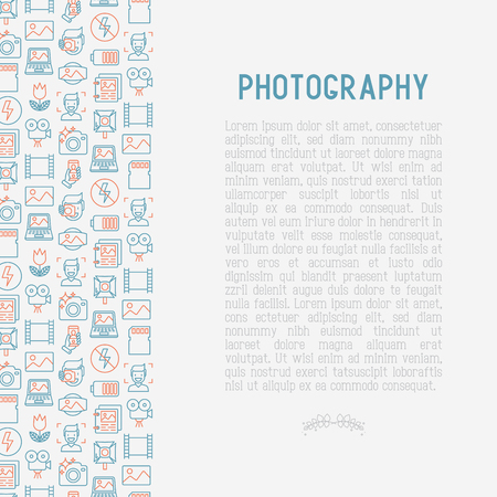 Photography concept illustration with thin line icons Illustration