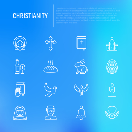 Set of Christianity religion thin line icons.