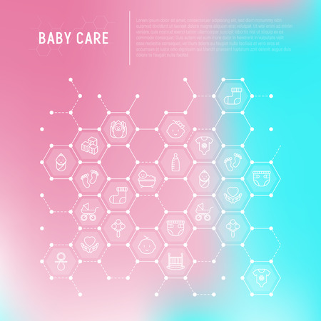 Baby care concept in honeycombs with thin line icons: newborn, diaper, pacifier, crib, footprints, bathtub with bubbles. Vector illustration for banner, web page, print media.